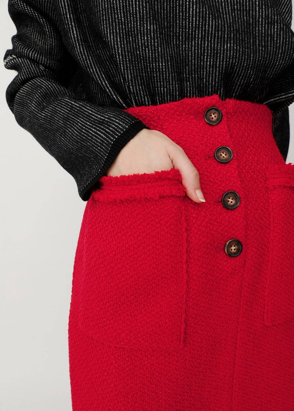 【最大60%OFF】FRONT BUTTON TWEED MINI SK|RED|ミニスカート|MOUSSY