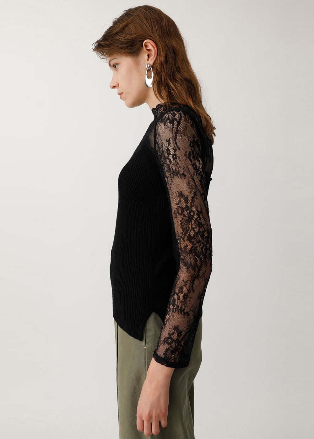 【最大60%OFF】LACE KNIT COMBI TOP|BLK|ニット|MOUSSY