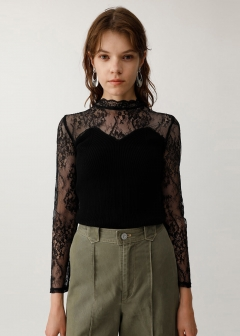 LACE KNIT COMBI TOP