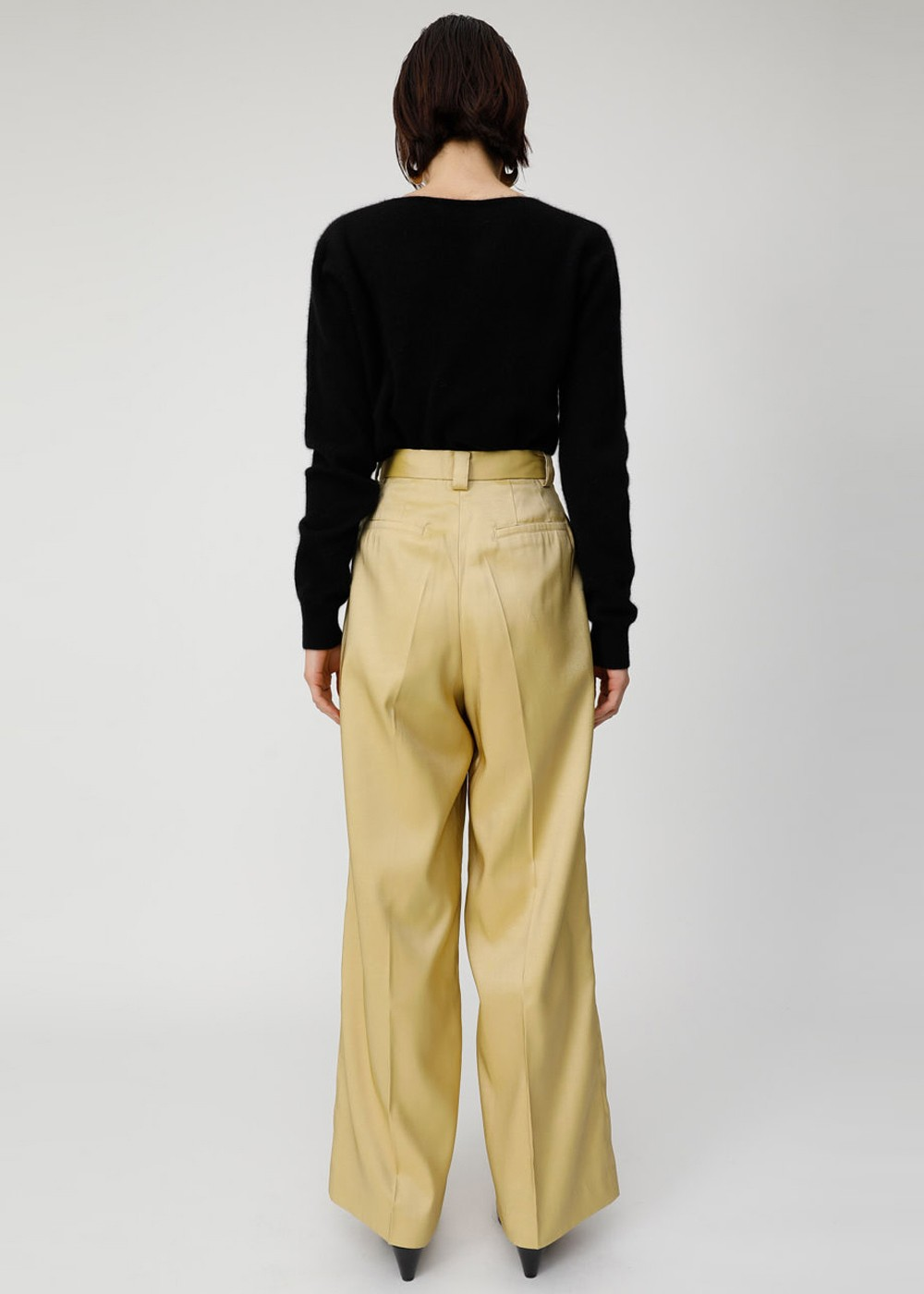 【最大60%OFF】GLOSS COLOR WIDE PANTS|L/YEL|ワイド|MOUSSY