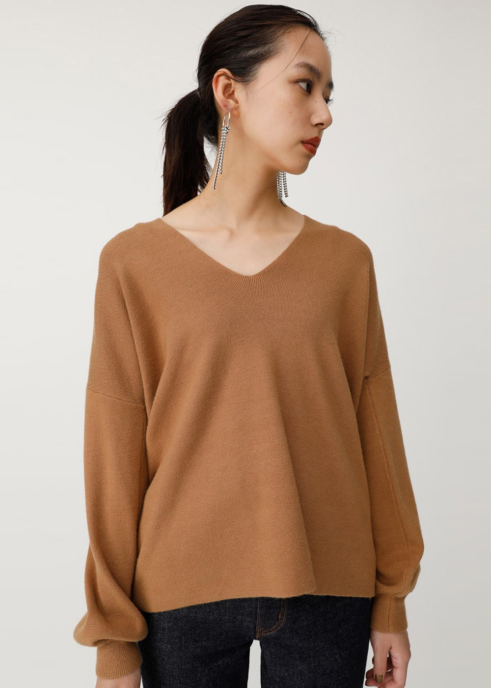 【最大60%OFF】V/N BOXY KNIT TOP|L/BRN|ニット|MOUSSY