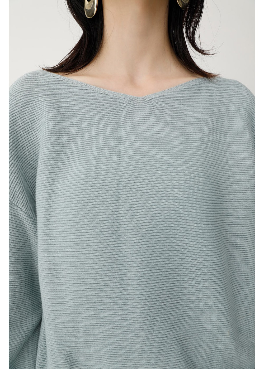 【最大60%OFF】TUCK SLEEVE V NECK KNIT|L/BLU|ニット|MOUSSY