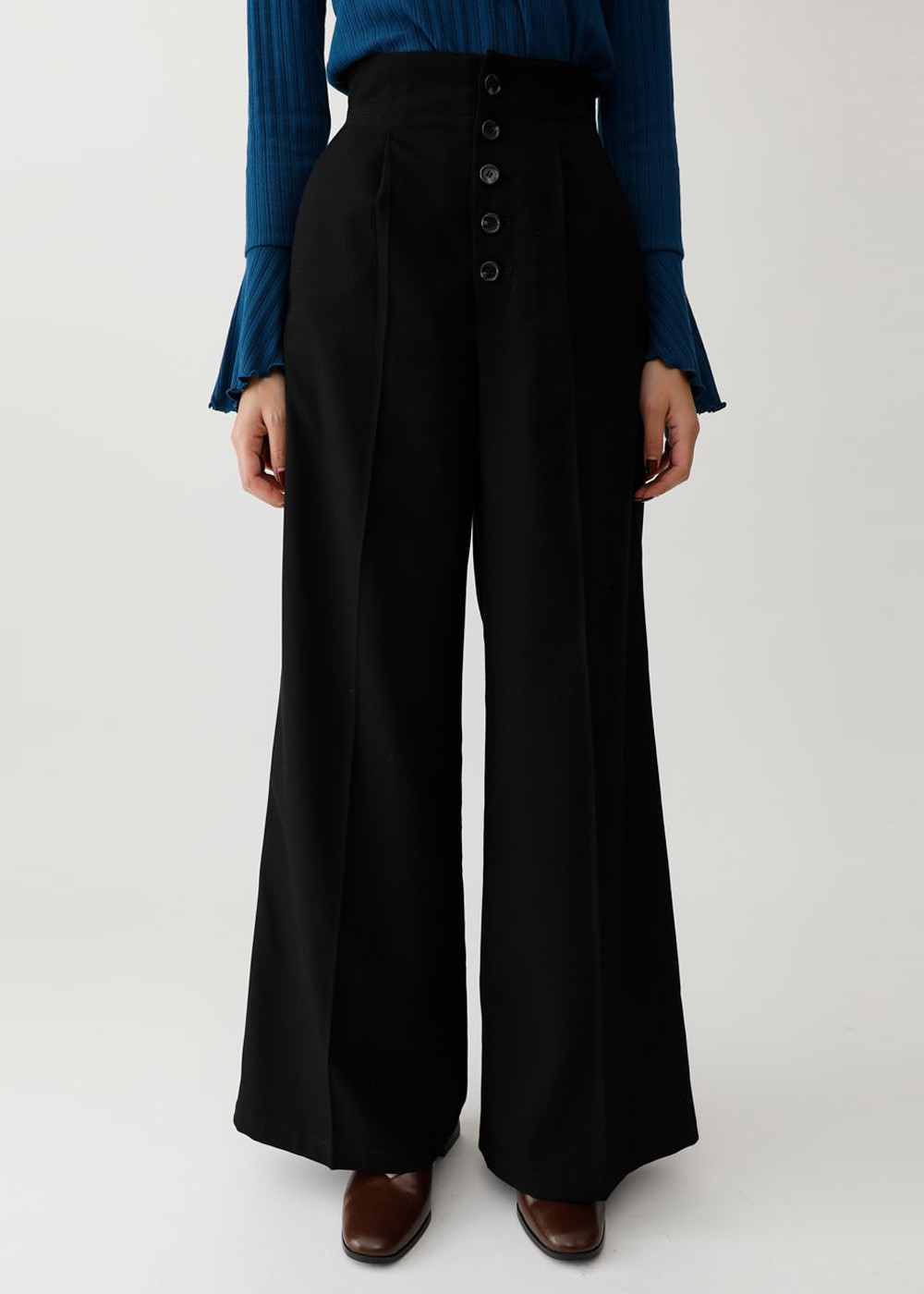 【最大60%OFF】HI WAIST CHECK WIDE PANTS|BLK|ワイド|MOUSSY