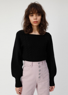 SQUARE NECK PUFF SLEEVE KNIT