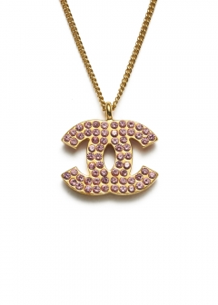 CHANEL COCO JEWELRY - CHANEL 両面ピンクストーンココネックレスGD 02P