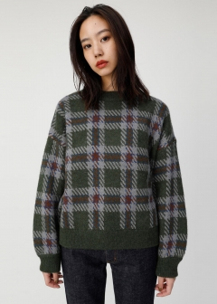 VOLUME SLEEVE CHECK KNIT