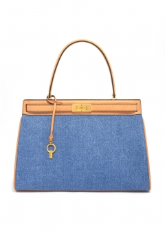 LEE RADZIWILL LARGE DENIM SATCHEL