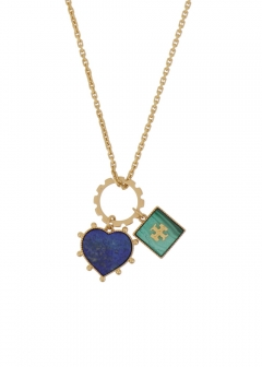 SEMI PRECIOUS CHARM NECKLACE