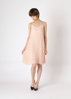 back open pleats dress