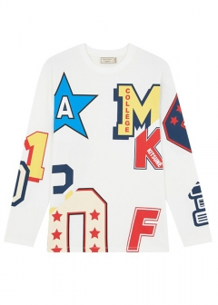 MAISON KITSUNE - メンズ クルーネックロゴプリント ロンT LONG SLEEVES TEE-SHIRT ALL-OVER COLLEGE(LATTE)【FW17M728】