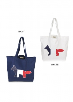 MAISON KITSUNE  - トートバッグ コットン TRICOLOR FOX PATCH CANVAS TOTE BAG(全2色)【AU05101AT7100】