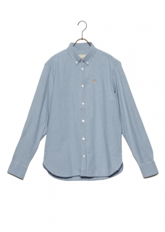 MAISON KITSUNE  - CHAMBRAY FOX HEAD EMBROIDERY CLASSIC SHIRT BD