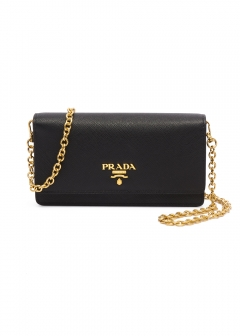 PRADA - wallet and more - SAFFIANO LEATHER WALLET CHAIN