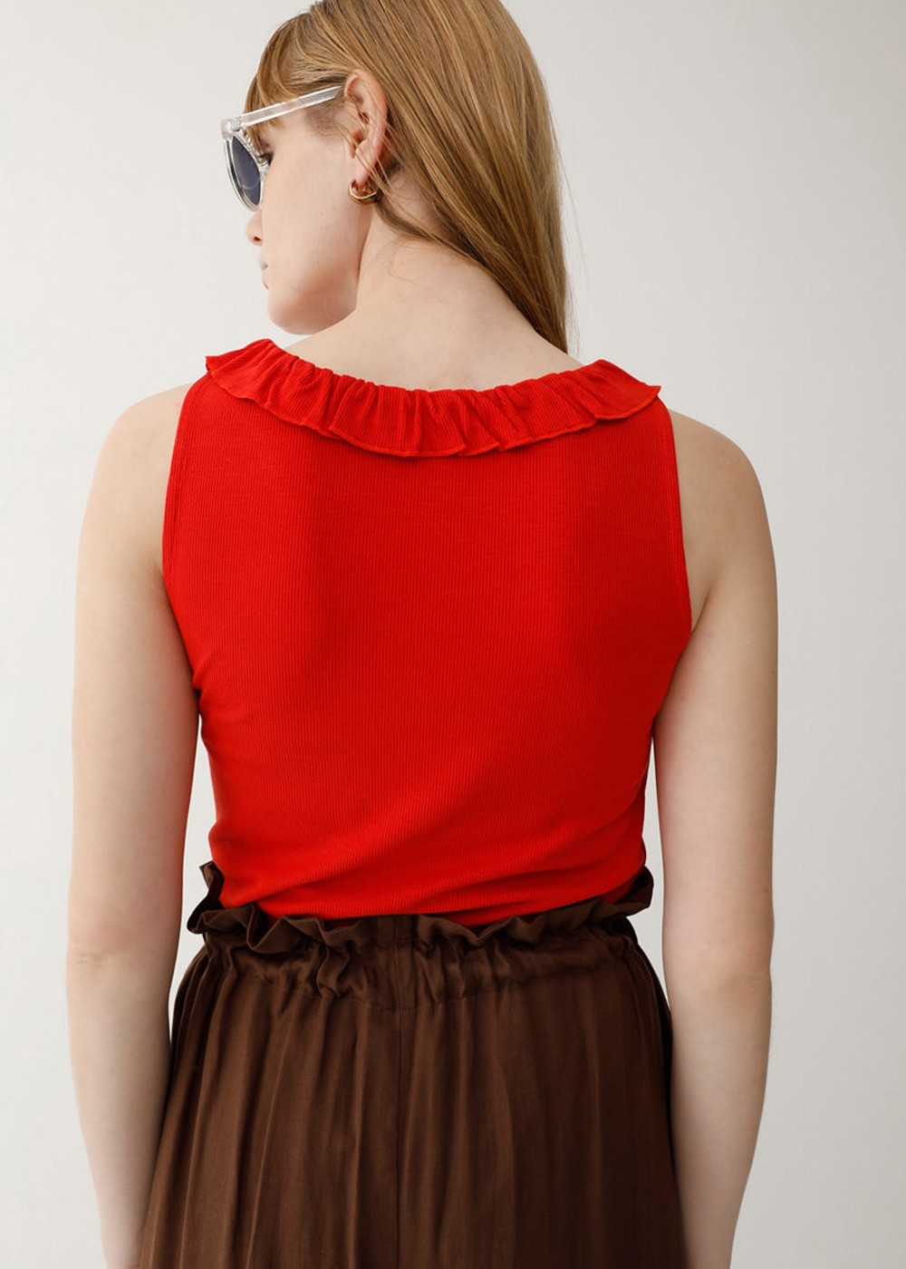 【最大70%OFF】RUFFLE RIB TANK|L/RED|タンクトップ|MOUSSY