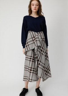 CHECK FLUTTER SKIRT