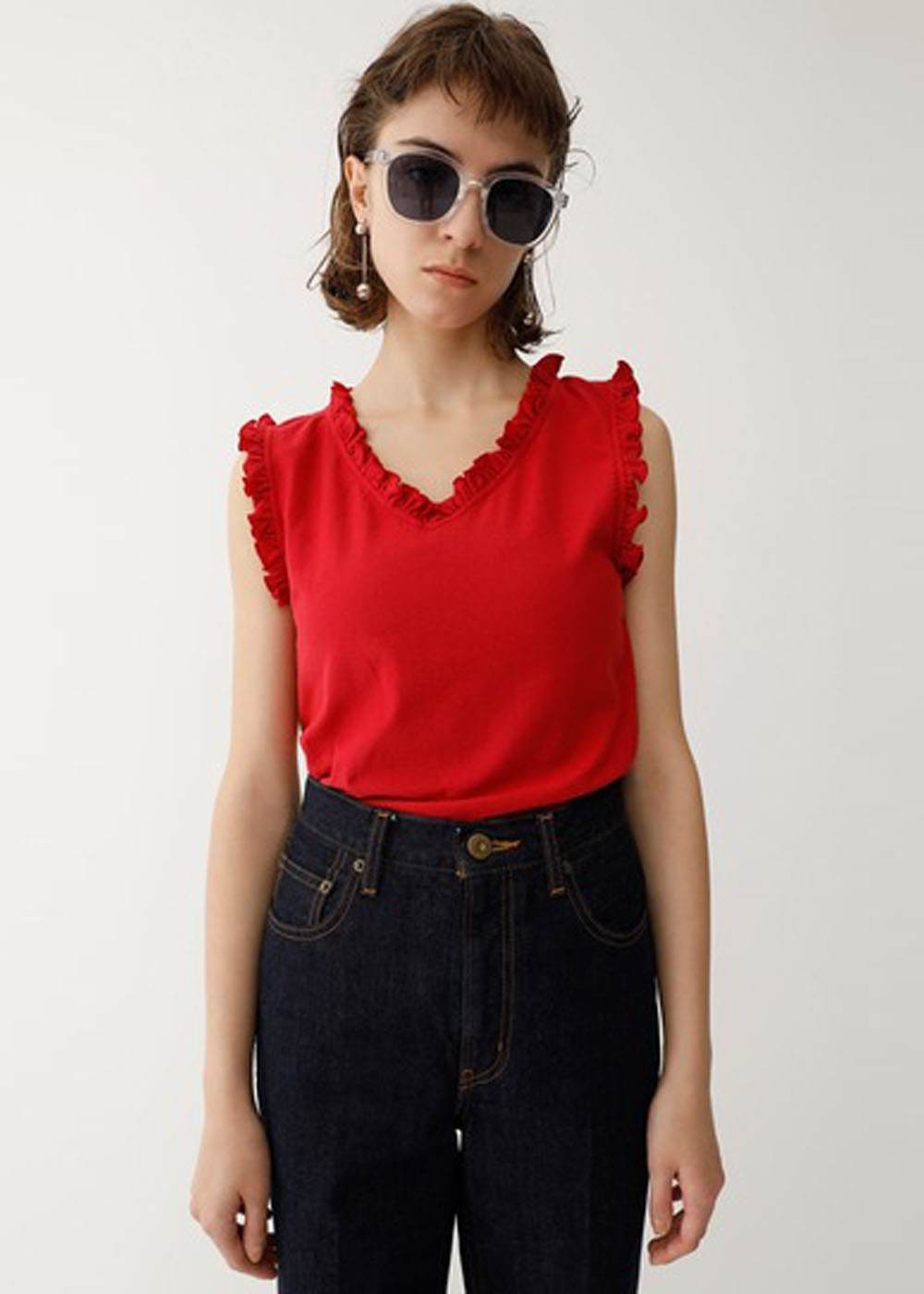 【最大70%OFF】FRILL NECK TANK TOP|RED|タンクトップ|MOUSSY