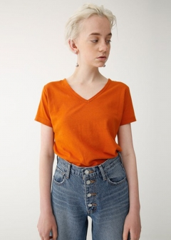COTTON LINEN V/NECK TEE