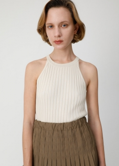 RIB KNIT HALTER NECK TOP