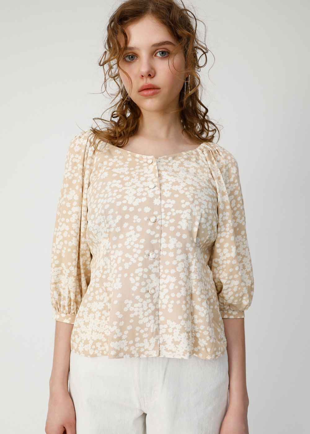 【最大70%OFF】2WAY FLOWER PRINT TOP|柄BEG|カットソー|MOUSSY