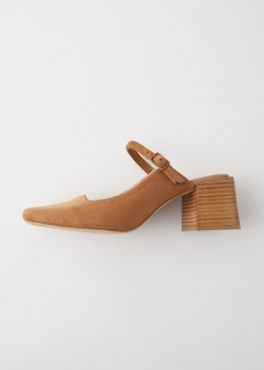 F/SUEDE SQUARE HEEL SANDALS