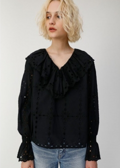 COTTON LACE RUFFLE BLOUSE