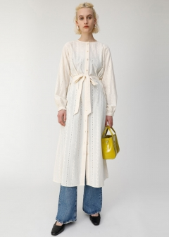 EYELET NOCOLLAR LONG SHIRT