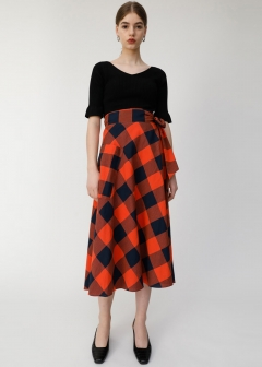 BLOCK CHECK SKIRT