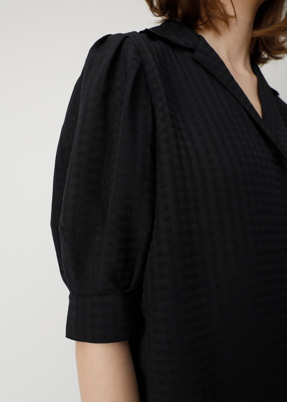 【最大70%OFF】SHEER CHECK PUFF SLEEVE BLOUSE|BLK|ブラウス|MOUSSY