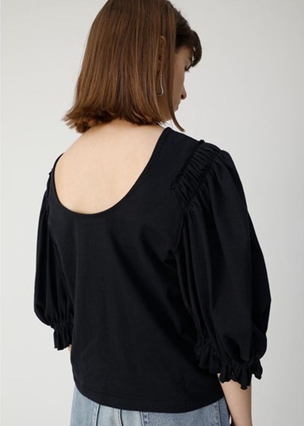 【最大70%OFF】VOLUME SLEEVE CUT TOP|BLK|カットソー|MOUSSY