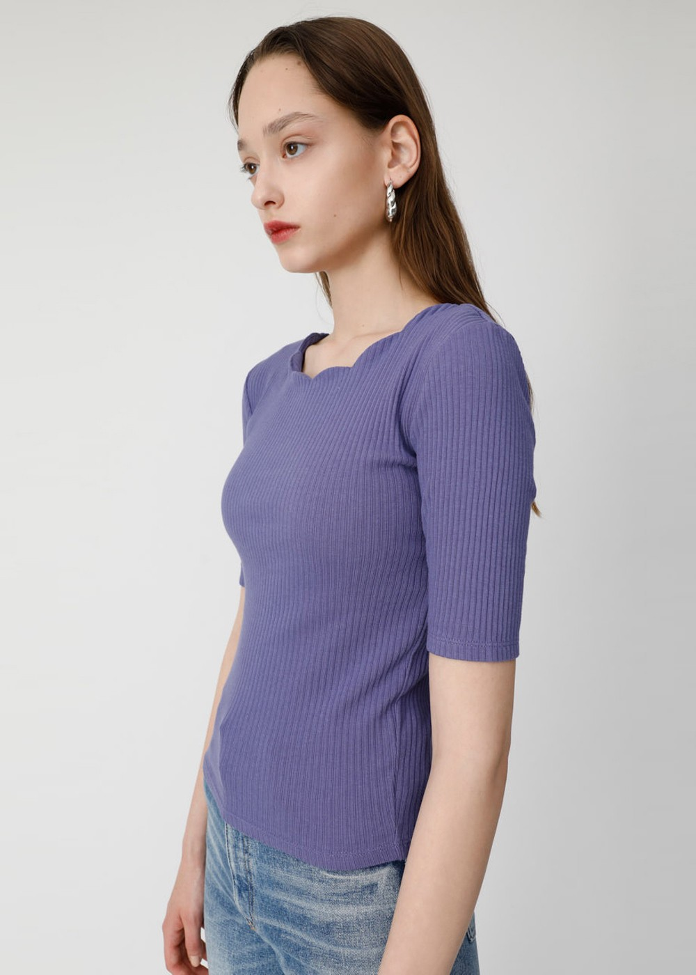 【最大70%OFF】SCALLOPED CUT TOP|PUR|カットソー|MOUSSY