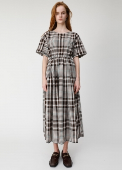 CHECK H/S FLARE DRESS