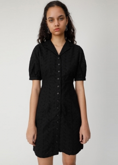COTTON EMBROIDERY MINI DRESS