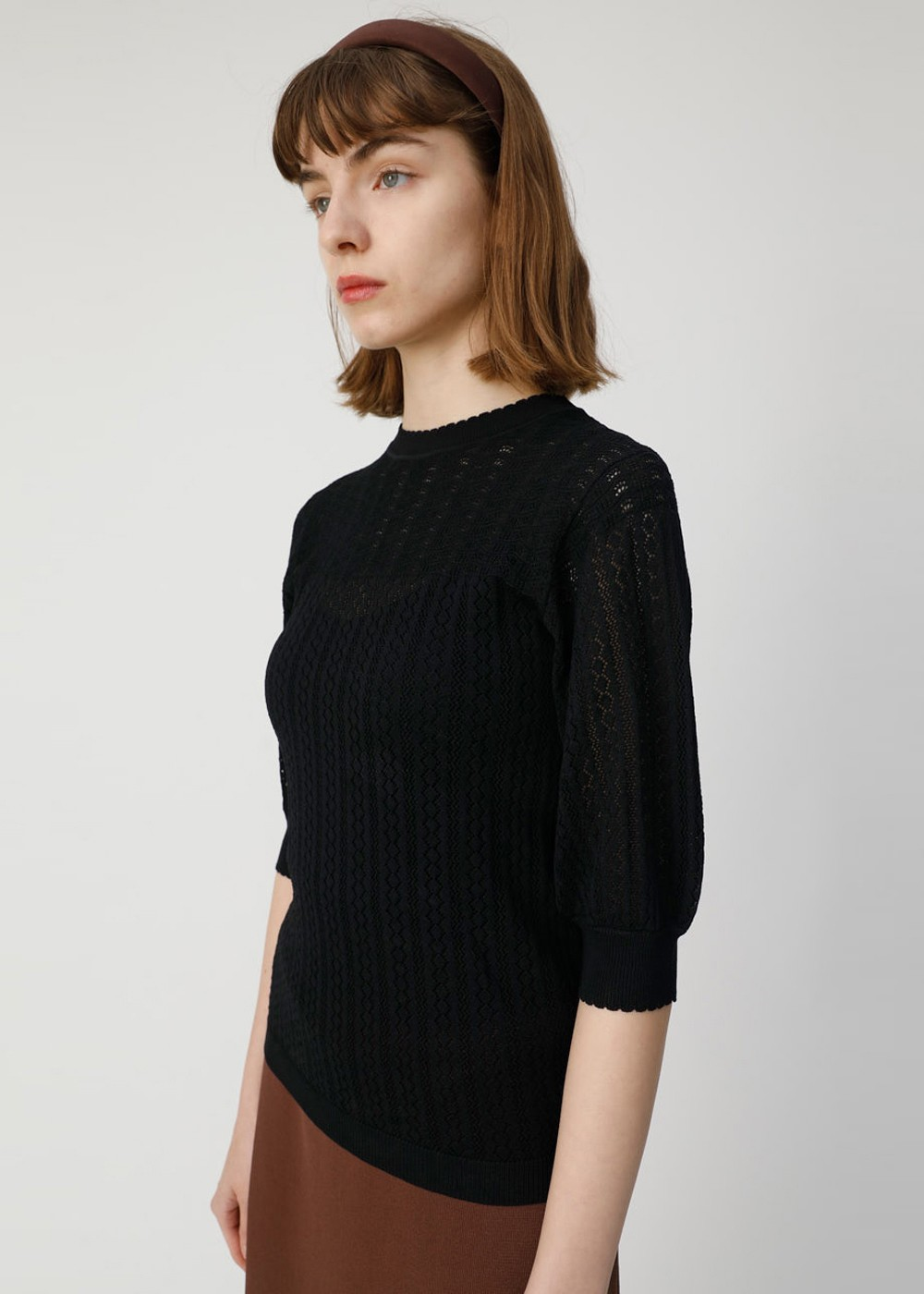 【最大70%OFF】LACY KNIT TOP|BLK|ニット|MOUSSY