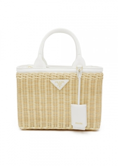 WICKER AND CANVAS HANDBAG