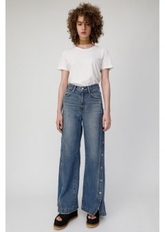 BUTTON UP DENIM WIDE PANTS