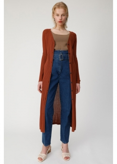 WIDE NECK RIB CARDIGAN