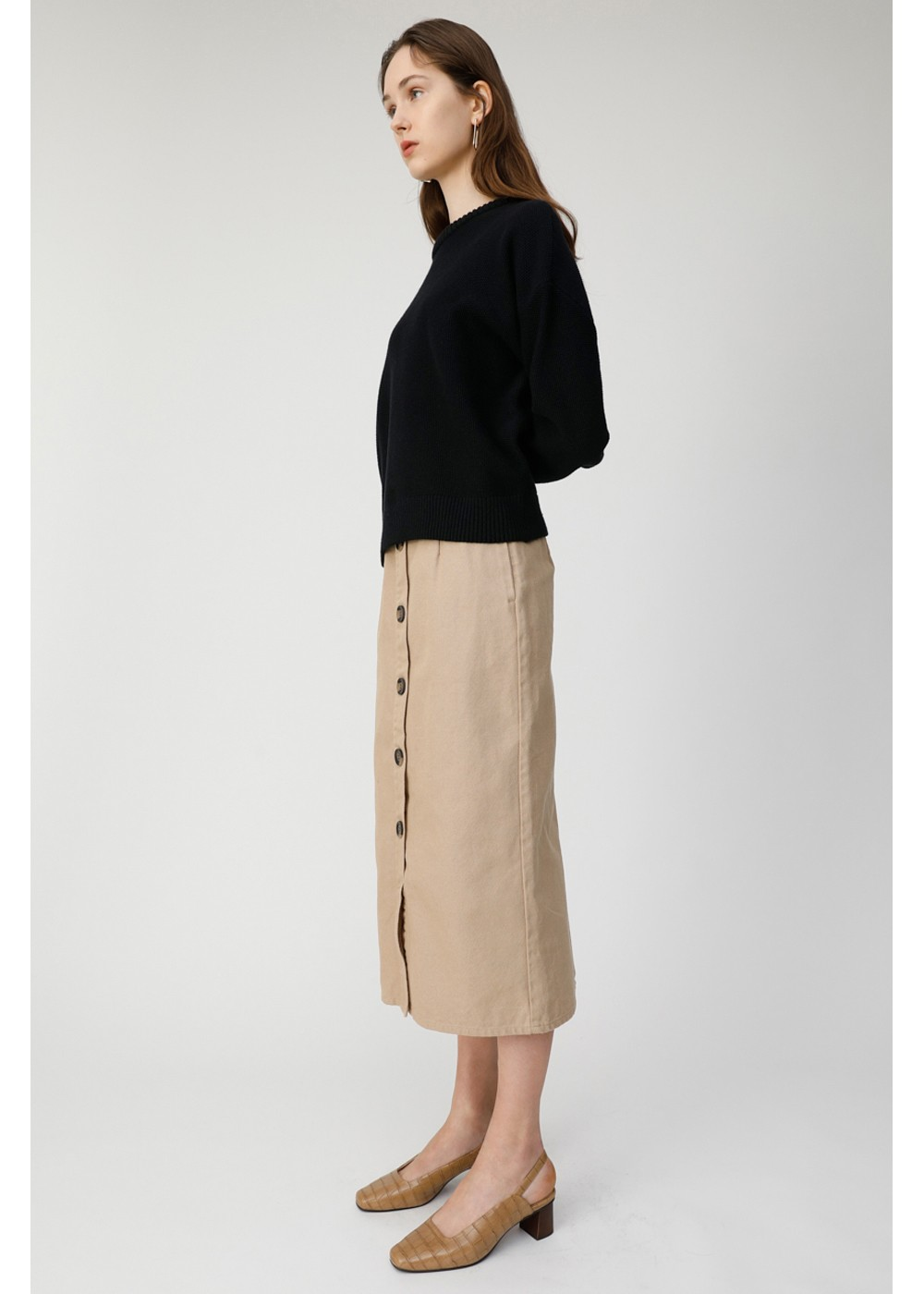 【最大70%OFF】FRONT BUTTON NARROW SKIRT|BEG|膝丈スカート|MOUSSY