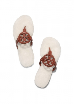 Tory Burch - 【8/19入荷】MILLER SANDAL LEATHER & SHEARLING サンダル 49773