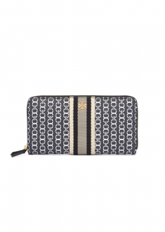 Tory Burch - 長財布 / GEMINI LINK CANVAS ZIP CONTINENTAL WALLET 【BLACK GEMINI LINK 】