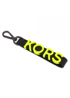 キーホルダー/CHARMS LEATHER【BLACK/NEON YELLOW】