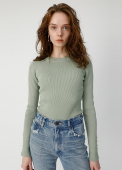 BUTTON SLEEVE RIB KNIT TOP