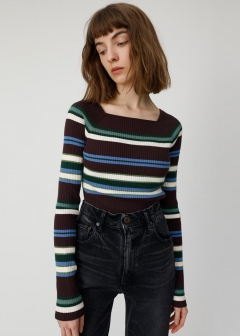SQUARE NECK MULTI STRIPE TOP