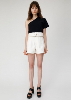 BELTED DENIM SHORT PANTS