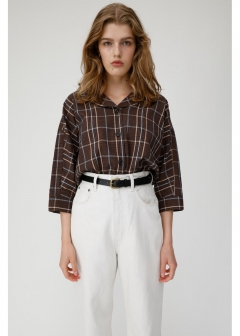 OPEN COLLAR SUCKER PLAID SHIRT