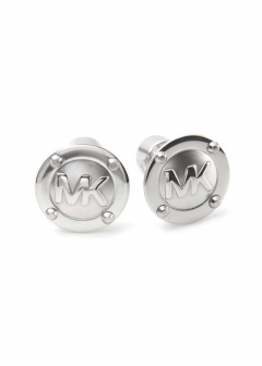 Logo Button Silver-Tone Earrings スタッズ ロゴ ボタン ピアス