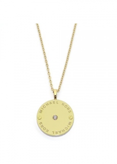Gold-Tone Logo Disc Pendant Necklace クリスタルストーン ロゴディスク ネックレス