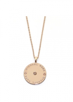 Rose Gold-Tone Logo Disc Pendant Necklace クリスタルストーン ロゴディスク ネックレス