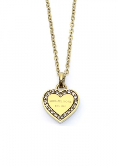 Pave Gold-Tone Heart Charm Pendant Necklace