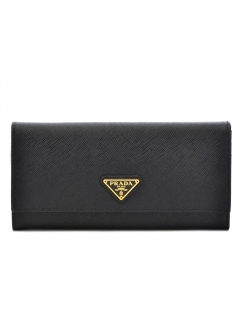 PRADA - Wallet Collection - - SAFFIANO TRAINGOLO / PASSケース付き WALLET 【NERO】