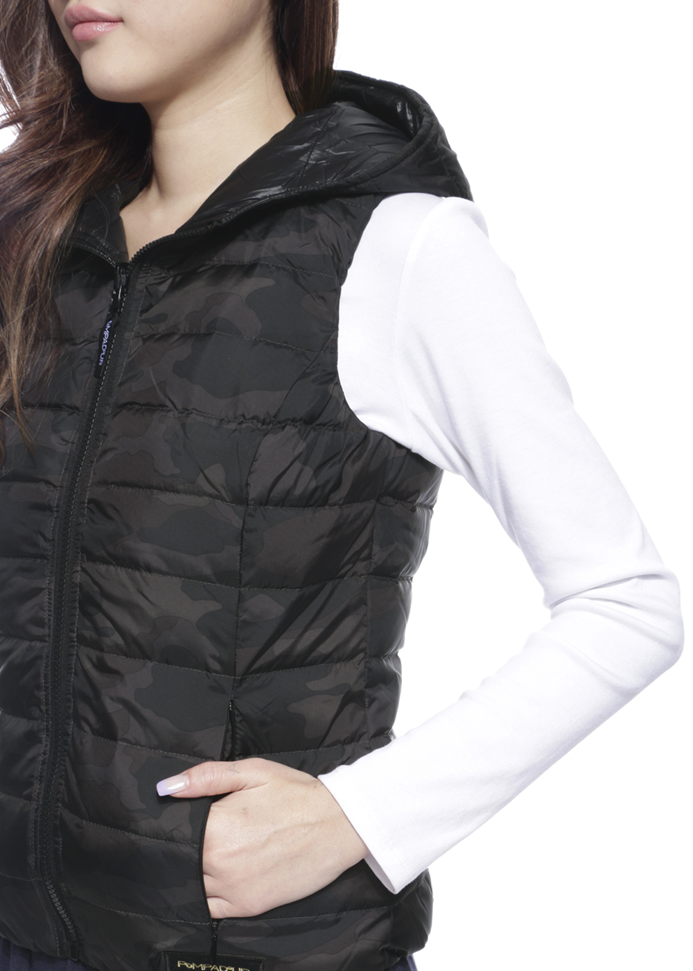 Reversible Down Vest|Black/Camo|ダウンベスト|POMPADOUR|最大59%OFF